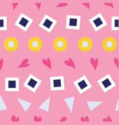 seamless pattern hearts squares bubbles and vector image