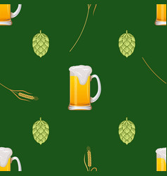 seamless pattern with beer mugs vector image
