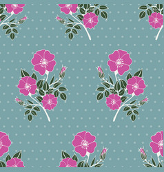 Seamless pattern with pink colors pof a dog rose vector