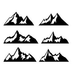 set mountains isolated on white background vector image
