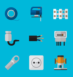 Set of 9 editable electric icons includes symbols vector