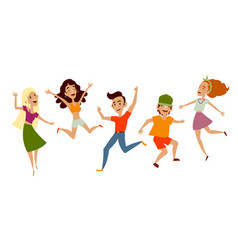 Set of young people teenagers dancing having fun vector