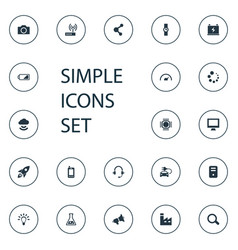 Set simple hitech icons vector