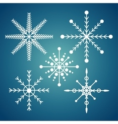Set snowflake christmas sign icon design blue vector