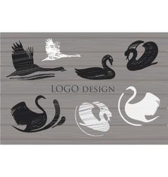 Set white and Black Swans Logo on wood background vector image