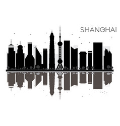 Shanghai city skyline black and white silhouette vector