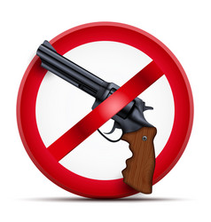 Sign with gun and symbol stop arming vector