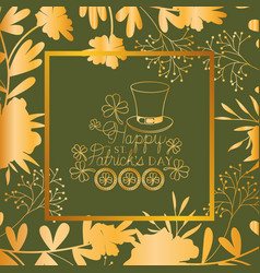 st patricks day frame with leprechaun hat and vector image