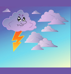 stormy sky with cartoon clouds vector image