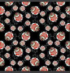 strawberry black background pattern vector image