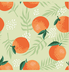 Summer pattern with oranges flowers and leaves vector