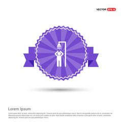 swimming pool shower icon - purple ribbon banner vector image