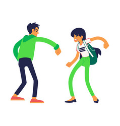 teen man and woman fight punching vector image