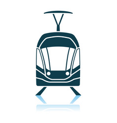 Tram icon front view vector