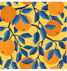 tropical seamless pattern with oranges vector image