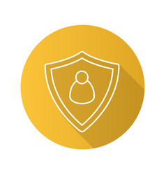 User security flat linear long shadow icon vector