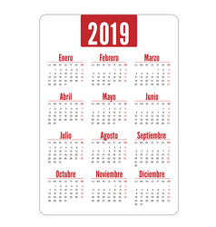 vertical calendar 2019 in spanish week starts vector image
