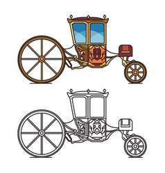 Vintage carriage for wedding royal horse chariot vector