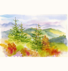 Watercolor autumn mountains with yellow trees vector