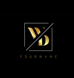 wd golden letter logo with cutted and intersected vector image