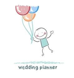 Wedding planner flying with balloons vector