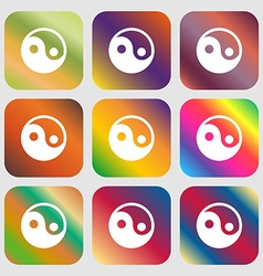 Ying yang icon Nine buttons with bright gradients vector