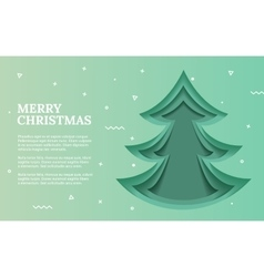 Green Christmas tree made of paper original vector image