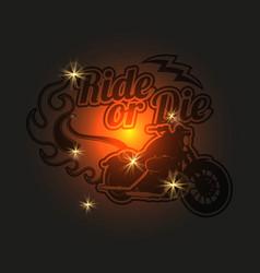 vintage motorcycle label motorbike shiny vector image vector image