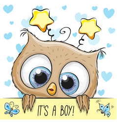 Baby shower greeting card with cute owl boy vector