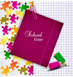 Exercise book and notes for text School time vector image vector image