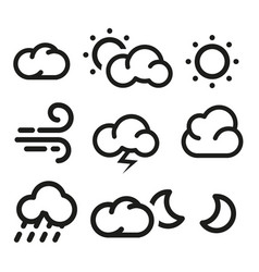isolated black and white color elements of weather vector image