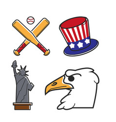 Most common symbols of united states of america vector