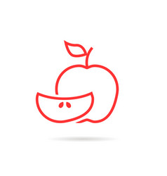 piece of red apple logo vector image