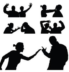 violence in family set in black color vector image