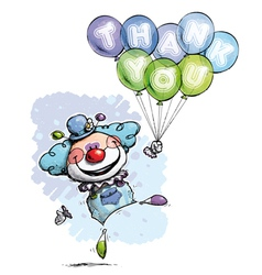 Clown with Balloons Saying Thank You Boy Colors vector image vector image