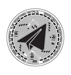 crypto currency gram black and white symbol vector image vector image