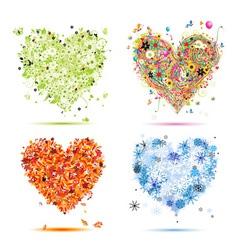 Four seasons hearts - spring summer autumn winter vector image vector image