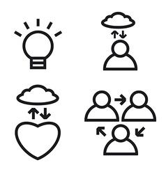meditation icon set vector image vector image