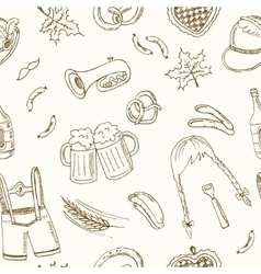 October fest doodle seamless pattern vintage vector