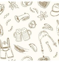October fest doodle seamless pattern vintage vector