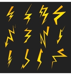 Set of cartoon isolated lightnings on black for vector image