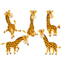 set of cute cartoon giraffes vector image