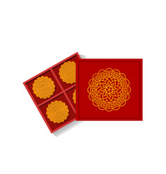 Chinese moon cake in opened gift box top view vector