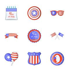freedom day icons set cartoon style vector image