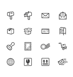 post element black icon set on white background vector image vector image