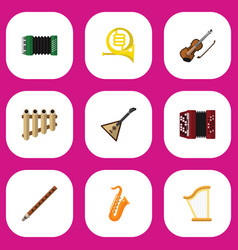 set of 9 editable sound flat icons includes vector image
