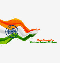 26th january happy republic day of india vector
