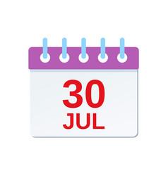 30 july calendar icon canada day vector