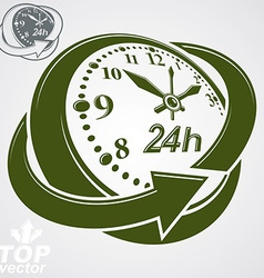 3d round 24 hours clock with arrow around simple vector image