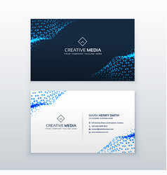 Abstract blue business card design with triangles vector